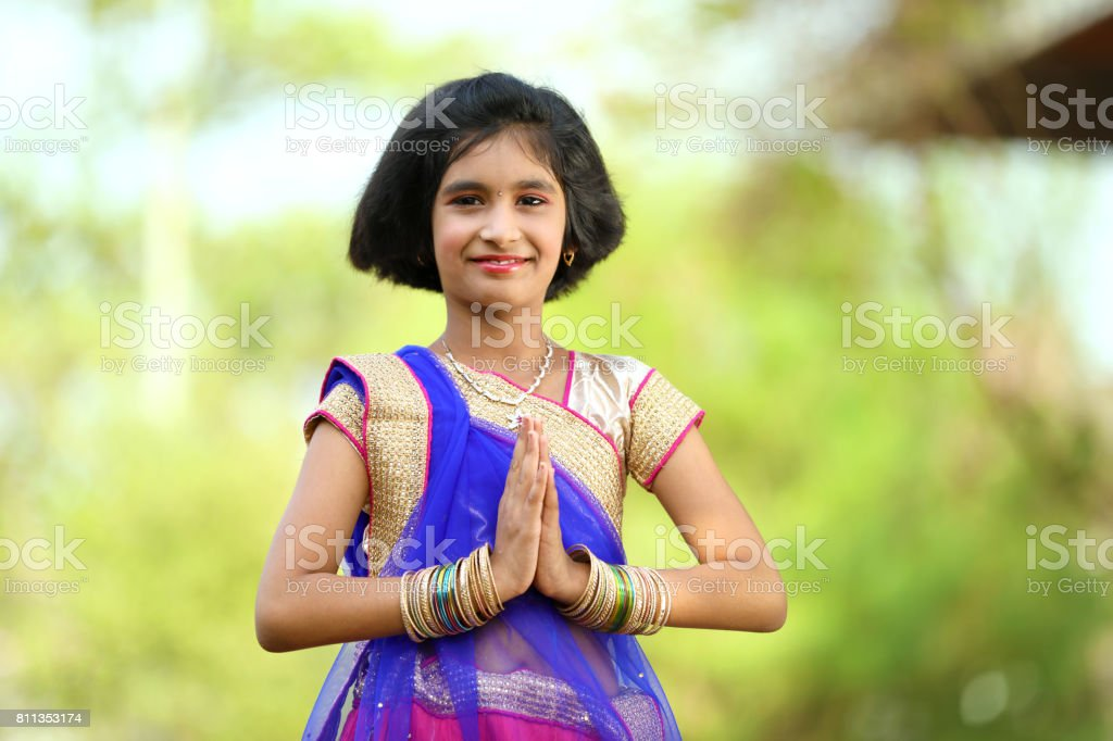 1e2df7d87493 Little Indian Girl In Traditional Sari Stock Photo   More Pictures ...
