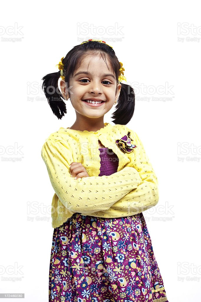 Little Indian Girl Isolated on White Arms Crossed royalty-free stock photo