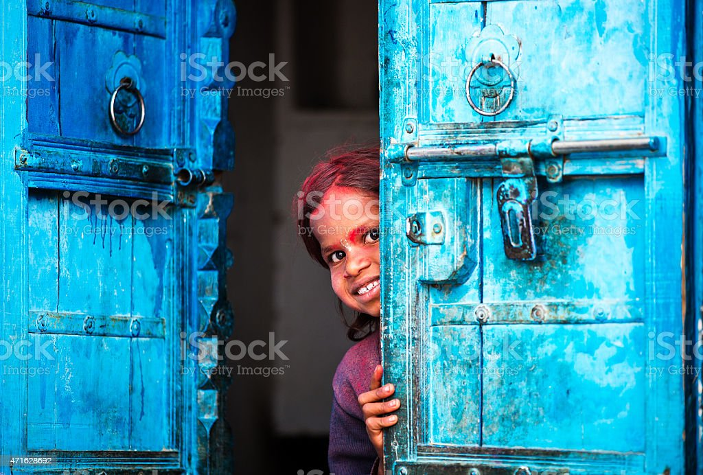 Little indian girl stock photo