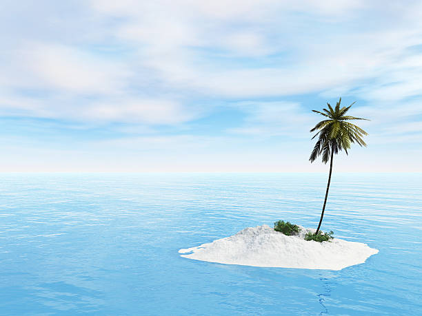 little island with sand and beaches - desert island stock photos and pictures