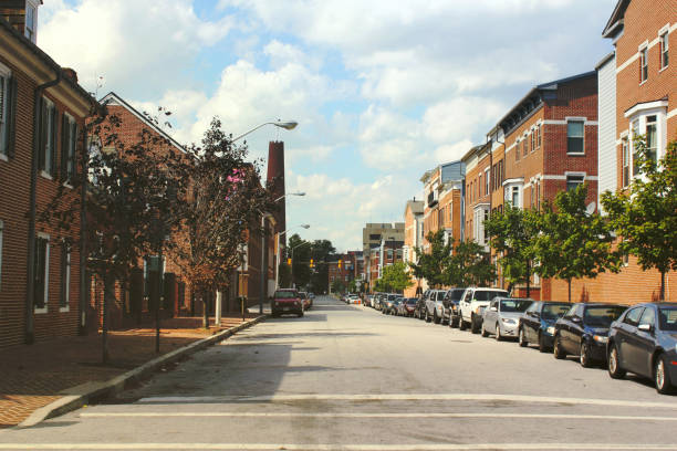 Little Italy district in Baltimore, Maryland, USA. Vintage photo filter. stock photo