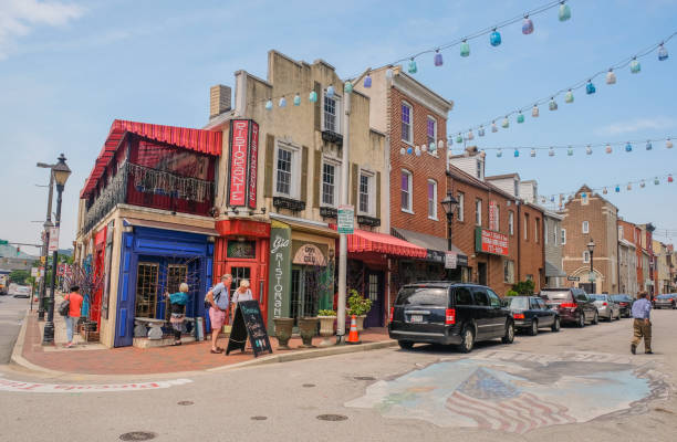Little Italy in Baltimore, Maryland Little Italy district in Baltimore, Maryland, USA: May 5, 2018: Main street in Little Italy of Baltimore City baltimore maryland stock pictures, royalty-free photos & images