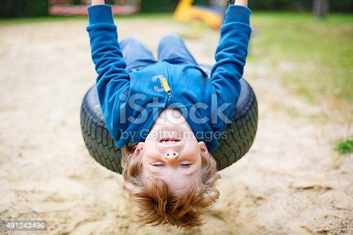 istock Little kid boy having fun on swing in summer 491243496