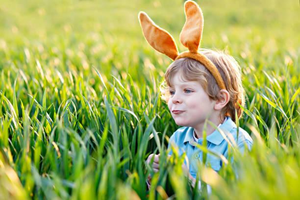 little kid boy having fun with traditional easter egg hunt - buona pasqua in tedesco foto e immagini stock