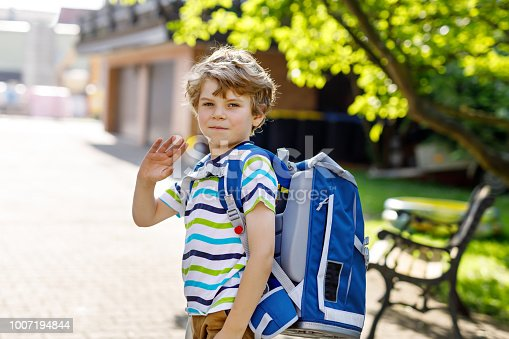 istock little kid boy with school satchel on first day to school 1007194844