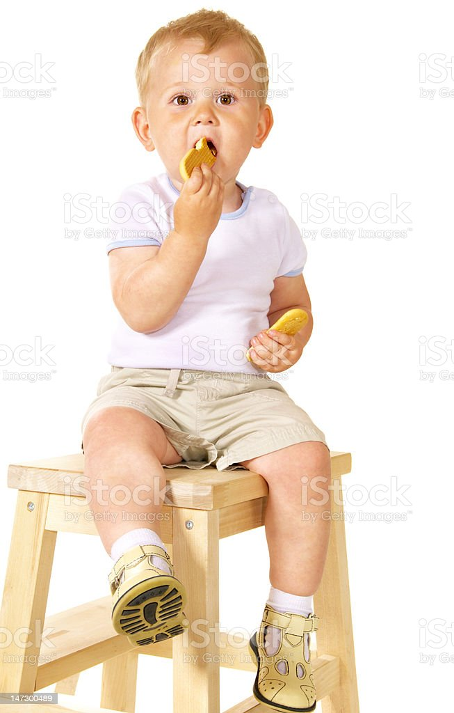 little kid eating cookies royalty-free stock photo