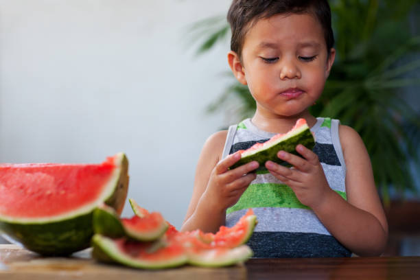 Little kid eating refreshing watermelon slices, cut into kid-friendly wedges, during summer. stock photo