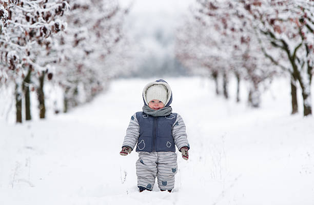 Little kid in snowsuit Happy little kid in a snowsuit, hat and scarf, walking through a snowy path warm clothing stock pictures, royalty-free photos & images