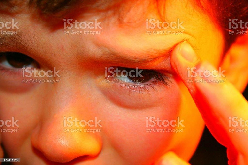 Little Kid Migraine royalty-free stock photo