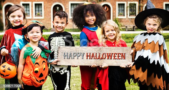 Little kids at a Halloween party  ***These graphics are derived from our own 3D generic models. They do not infringe on any copyright design.***