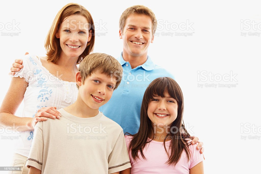 Little kids with their parents smiling against white royalty-free stock photo