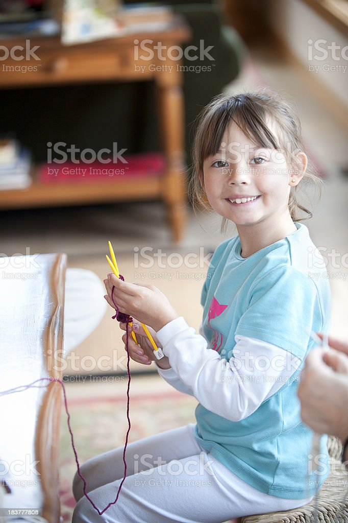 Little Knitter stock photo