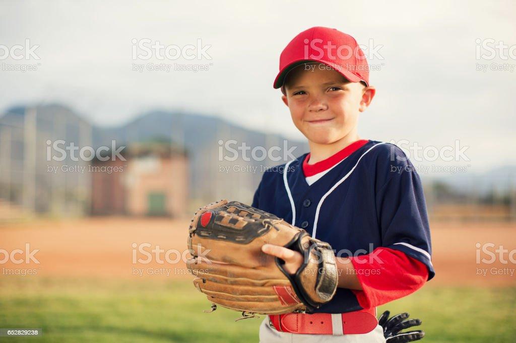 Little League Baseball Boy Portrait stock photo
