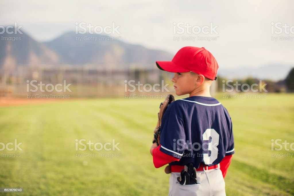 Little League Baseball Boy Profile stock photo