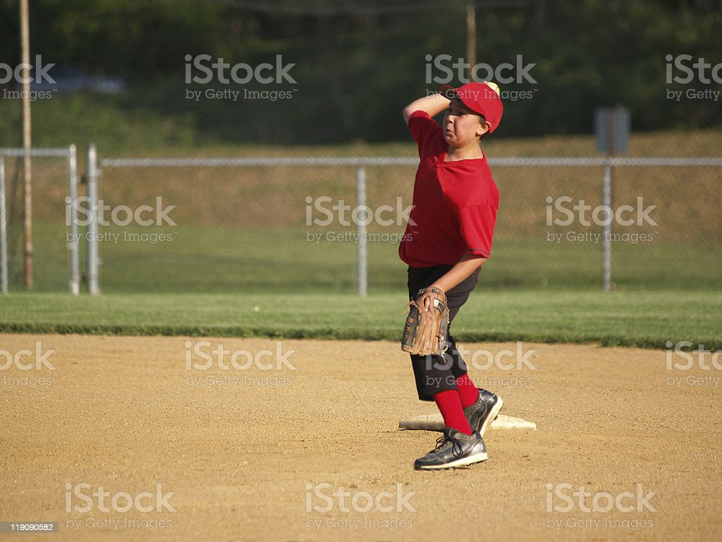 little league second baseman stock photo