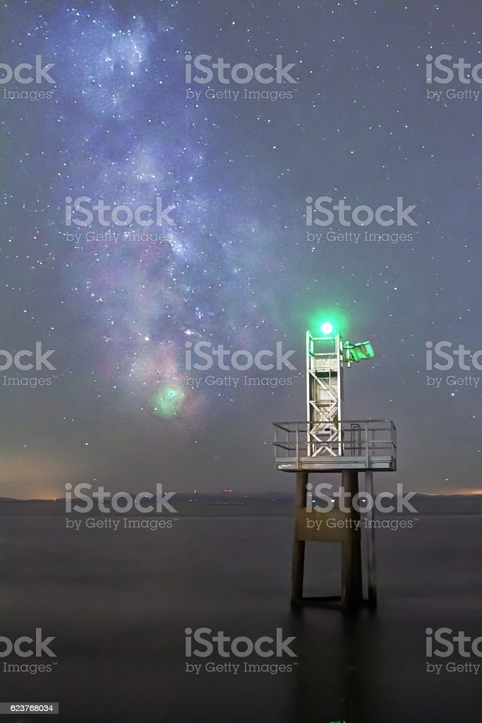 little lighthouse and Milky Way stock photo