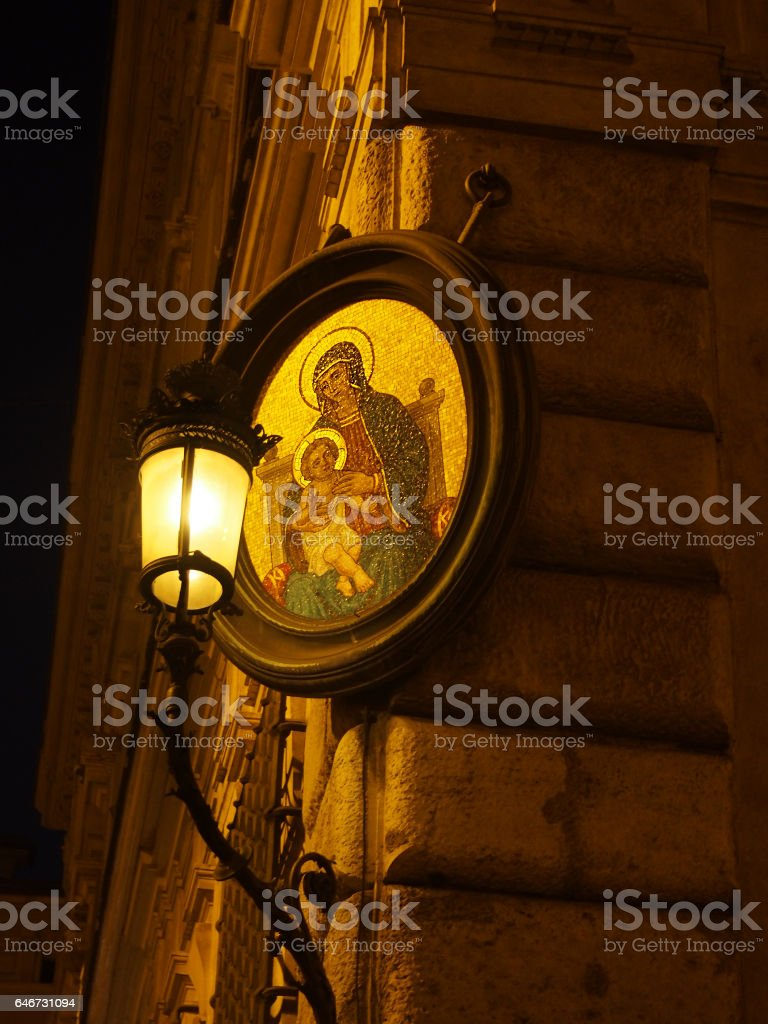 Little Madonna or Madonnelle on Street Corner in Rome stock photo