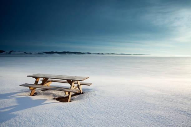 little manitou lake saskatchewan kanada - picknick tisch kühler stock-fotos und bilder