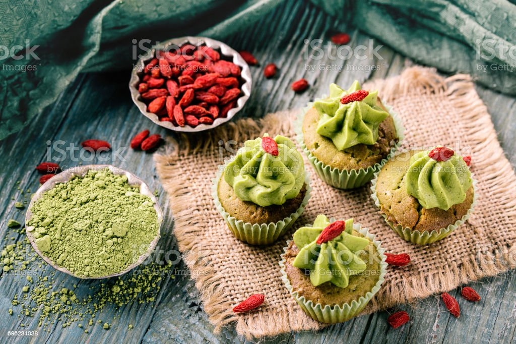 Little matcha cup cakes stock photo