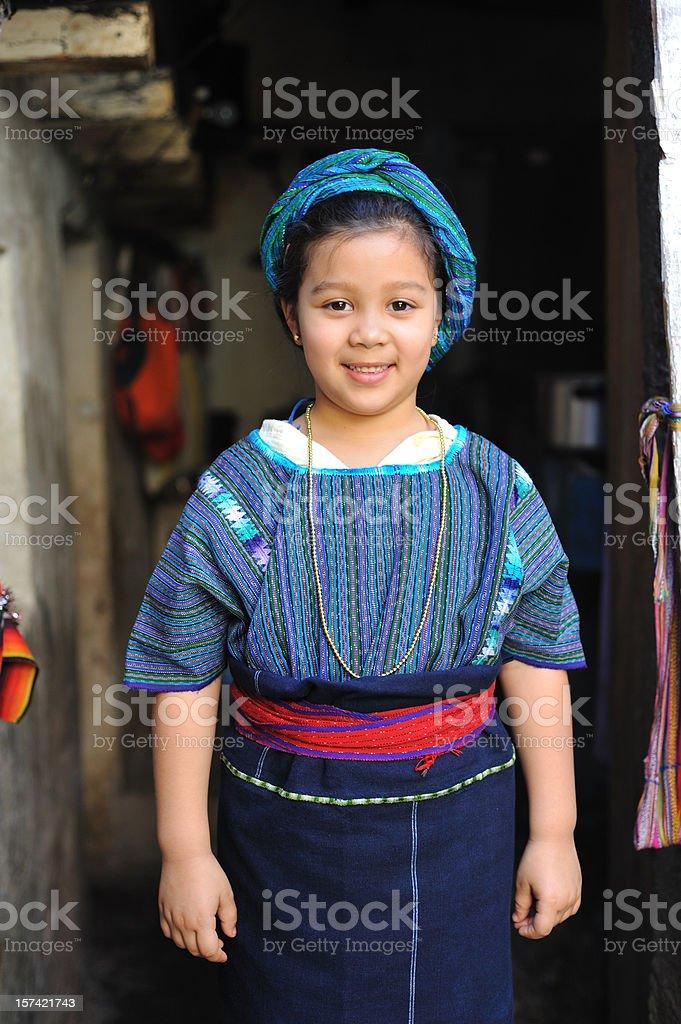 Little Mayan girl stock photo