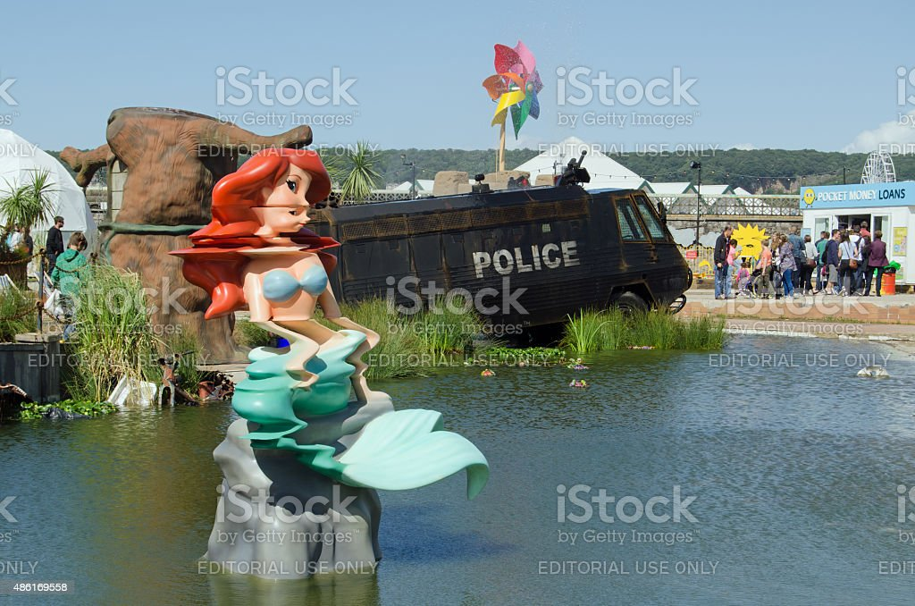 Little Mermaid and toxic Lake, Dismaland stock photo