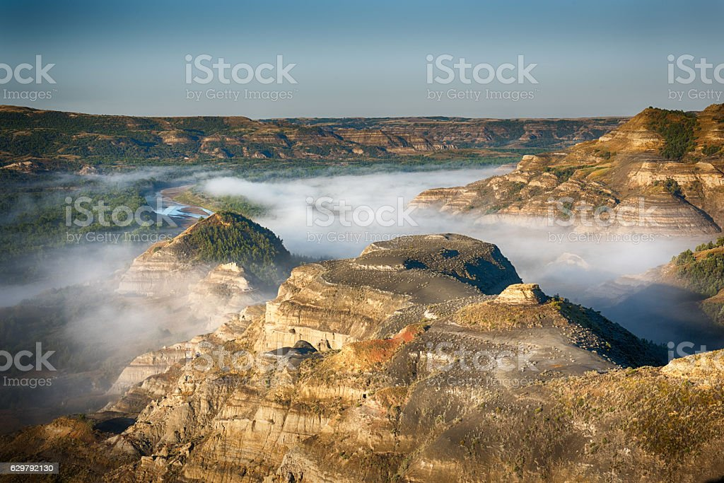 Little Missouri River in Fog stock photo