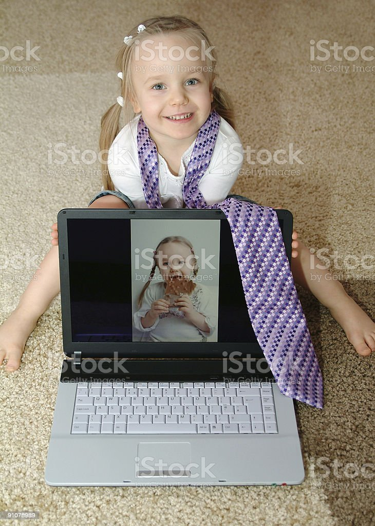 Little model is showing her portfolio royalty-free stock photo