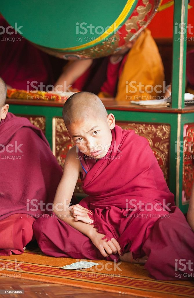 Little Monk and Money royalty-free stock photo