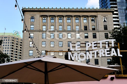 Montreal, Canada - Circa July, 2019: The project Le Petit MTL aims to create vibrant summer pop-up space in the middle of construction sites at downtown Montreal.