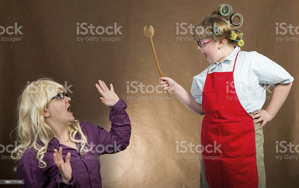 little mother yelling at daughter royalty-free stock photo