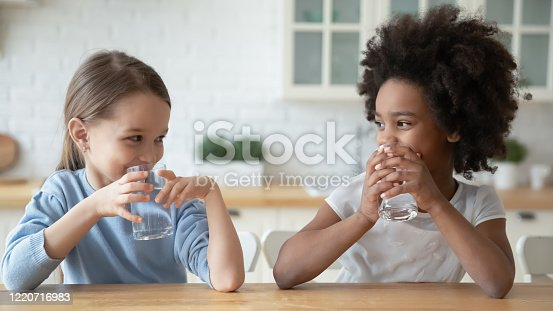 Happy little multiracial sisters sit at table in home kitchen drink pure mineral water, smiling small multiethnic girls children enjoy clean still aqua, feel thirsty, healthy lifestyle concept