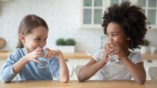 Little multiethnic girls drink mineral water at home Happy little multiracial sisters sit at table in home kitchen drink pure mineral water, smiling small multiethnic girls children enjoy clean still aqua, feel thirsty, healthy lifestyle concept drinking water stock pictures, royalty-free photos & images