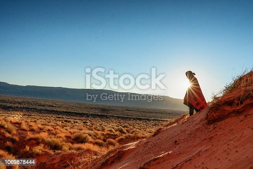 Very cute and photogenic little nine-year-old American Indian Navajo Boy Outside Portrait