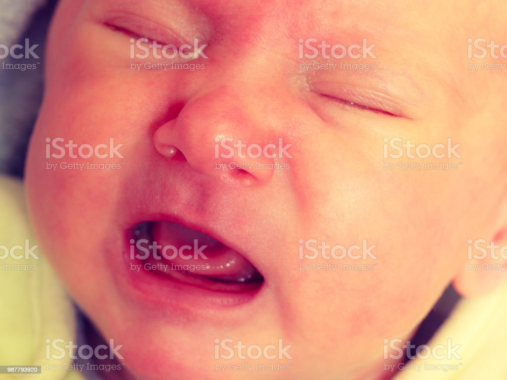 Little Newborn Sad Baby Crying Stock Photo Download Image