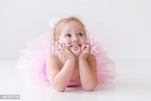 istock Little nice ballerina in pink tutu 487925730