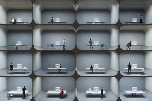 Little office cubicle prison cells