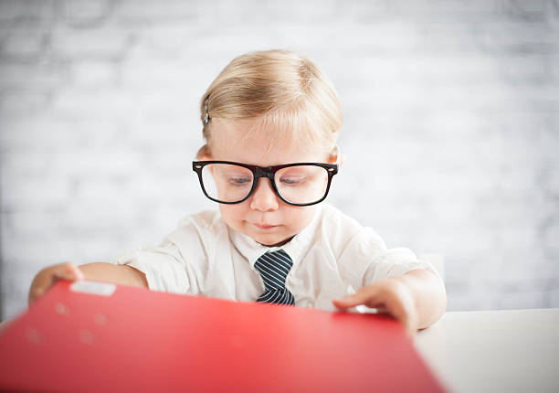 Little office worker stock photo