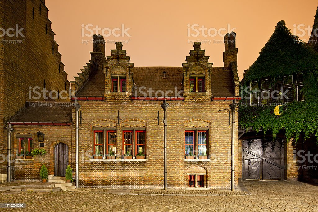 Little Old House In Bruges At Night royalty-free stock photo