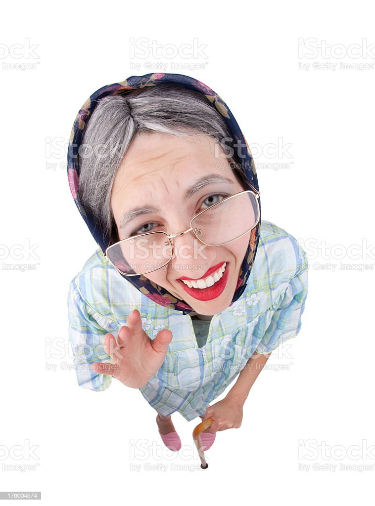 Little Old Lady Waving royalty-free stock photo