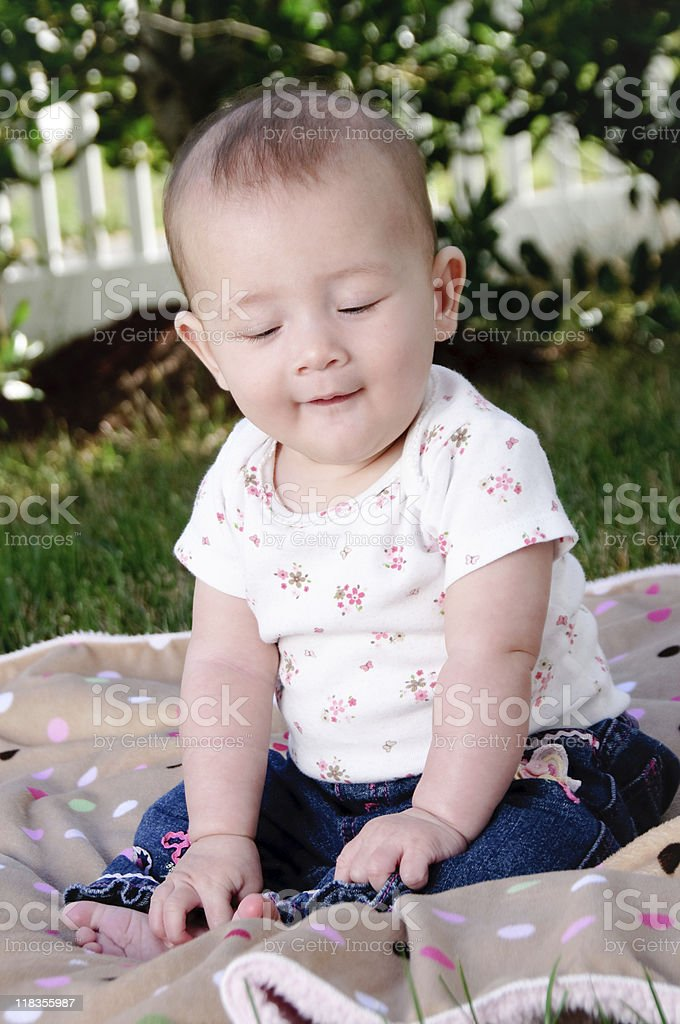 Little oriental girl stock photo