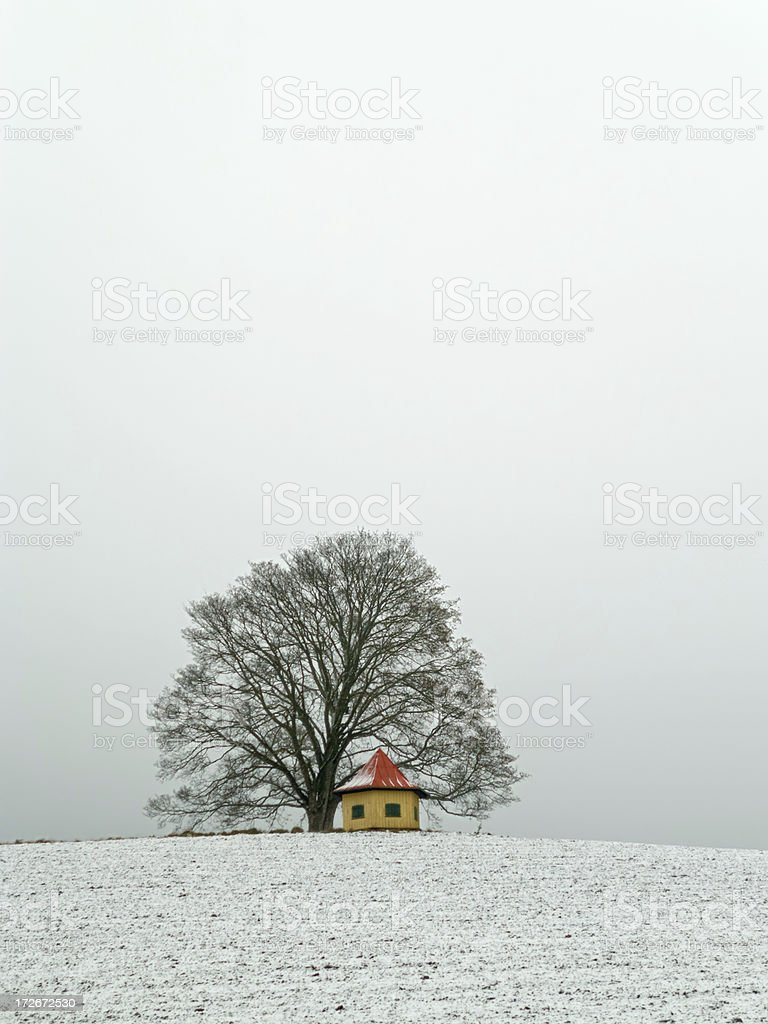 Little Pavillon in a winter landscape in Upper Franconia royalty-free stock photo