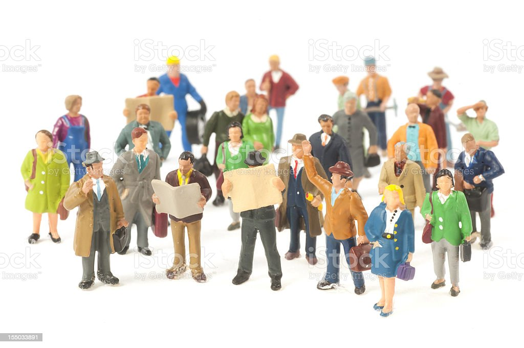 Little People crowd figurines stock photo