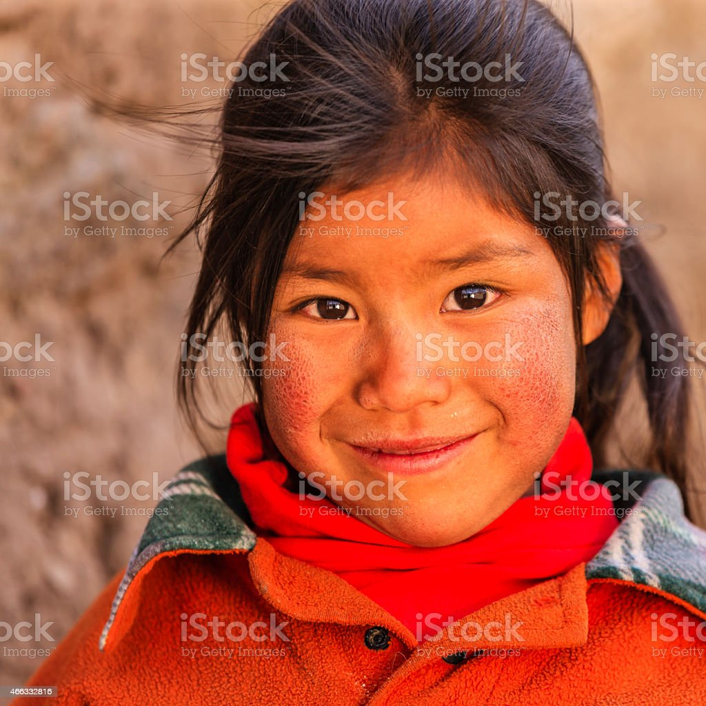 Little Peruvian girl near Canion Colca, Arequipa, Peru stock photo