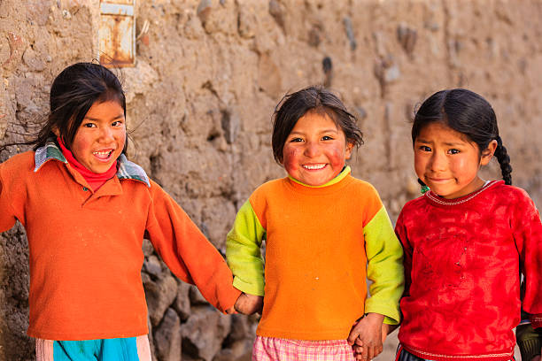 little peruvian girls near canion colca, arequipa, peru - peruvian ethnicity stock pictures, royalty-free photos & images