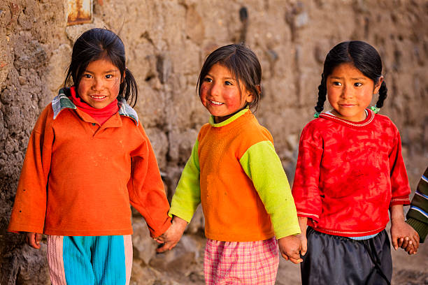 Little Peruvian girls near Canion Colca, Arequipa, Peru Colca Canyon is a canyon of the Colca River in southern Peru. It is located about 100 miles (160 kilometers) northwest of Arequipa. It is more than twice as deep as the Grand Canyon in the United States at 4,160 m. However, the canyon's walls are not as vertical as those of the Grand Canyon. The Colca Valley is a colorful Andean valley with towns founded in Spanish Colonial times and formerly inhabited by the Collaguas and the Cabanas. The local people still maintain ancestral traditions and continue to cultivate the pre-Inca stepped terraces.http://bem.2be.pl/IS/peru_380.jpg peruvian culture stock pictures, royalty-free photos & images