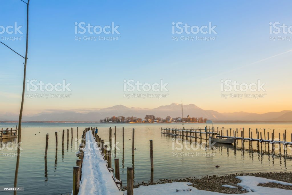 Little Piers at Gstadt am Chiemsee stock photo