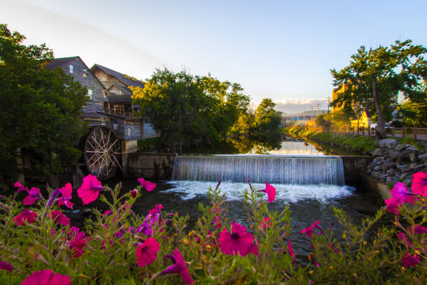 Little Pigeon River In Pigeon Forge Tennessee stock photo