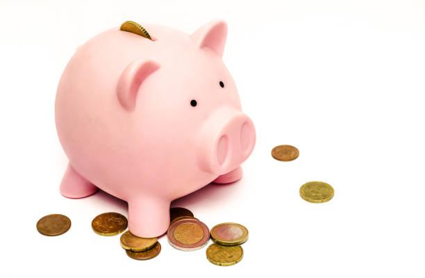little piggy bank saving money for kids and adolt - maialino foto e immagini stock