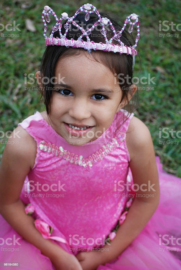 Little Pink Princess with Crown royalty-free stock photo
