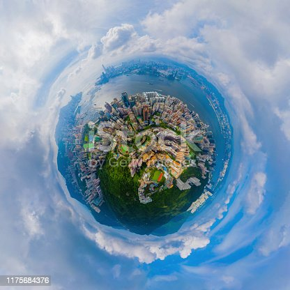 Little planet 360 degree sphere birds eye view. Panoramic view of aerial view of Hong Kong Downtown. Financial district and business centers in technology smart city. Skyscraper buildings at noon.